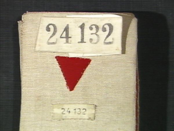 Häftlingsnummer von Inger Gulbrandsen aus Ravensbrück, mit rotem Winkel zur Kennzeichnung als politischer Häftling (Quelle: Privat I. Gulbrandsen)