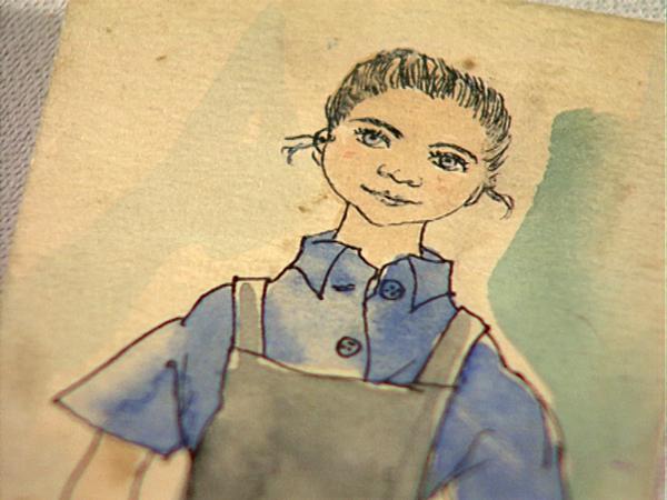Vera Hozaková im Baubüro, gezeichnet von einer tschechischen Malerin in Ravensbrück (Quelle: V.Hozaková Privat)