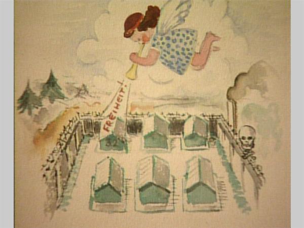 """Zeichnung von Aat Breur aus dem Lager, 1944: """"Freiheit"""" (Quelle: Privat A. Breur)"""